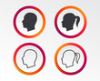 Head icons. Male and female human symbols. Woman with pigtail signs. Infographic design buttons. Circle templates. Vector