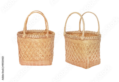 Fototapeta bamboo basket for Market Shopping isolated on white