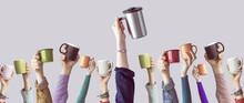 """Постер, картина, фотообои """"Many different arms raised up holding coffee cup"""""""