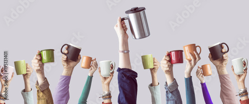 Poster Many different arms raised up holding coffee cup