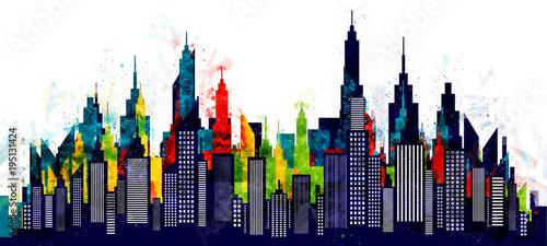 Fototapeta American City Buildings And Skyscrapers Watercolor Illustration