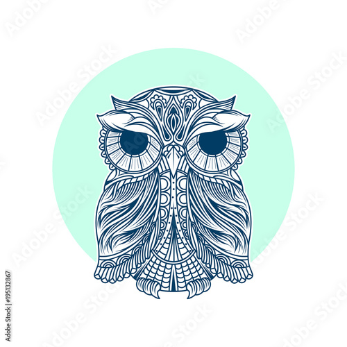 Fotobehang Uilen cartoon Artwork illustration of owl modern shape logo T-shirt