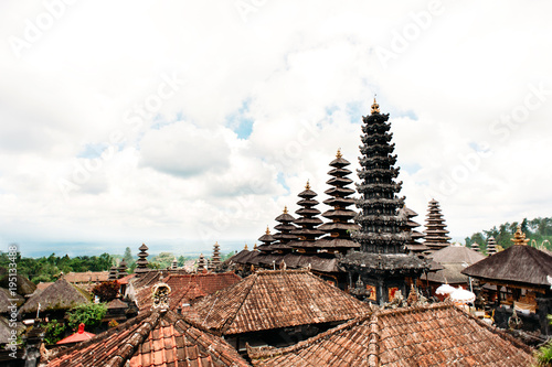 Fotobehang Bali Traditional balinese roofs in Pura Penataran Agung Besakih complex, the mother temple of Bali Island, Indonesia. Travel and architecture background