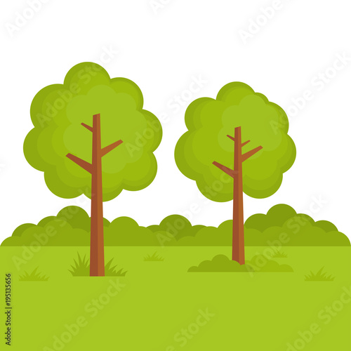 Deurstickers Lime groen Tree Landscape Forest vector illustration