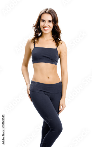 Fotobehang Fitness Full body of smiling woman in sportswear, isolated
