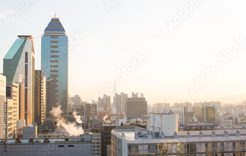 Fotobehang Seoel City View from Gangnam, Seoul South Korea with Early Morning Sunrise