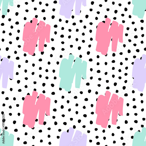 Vector seamless trendy messy geometric and polka dot pattern. Modern ink brush elements background. Great for print, wrapping paper, wallpaper - 195146283