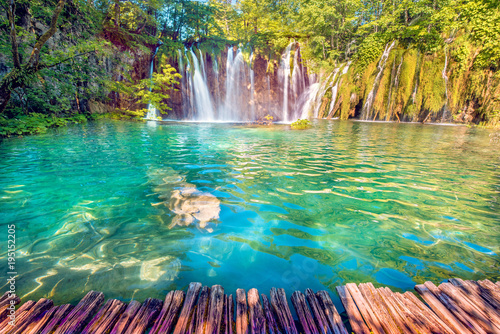 Incredibly beautiful fabulous magical landscape with a waterfall in Plitvice, Croatia (harmony meditation, antistress - concept) - 195152205