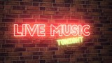 Live music neon sign mounted on rustic brick wall, 3d rendering animation - 195153437