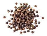 Black pepper. Heap of peppercorns isolated on white background. Macro. Top view. - 195161277