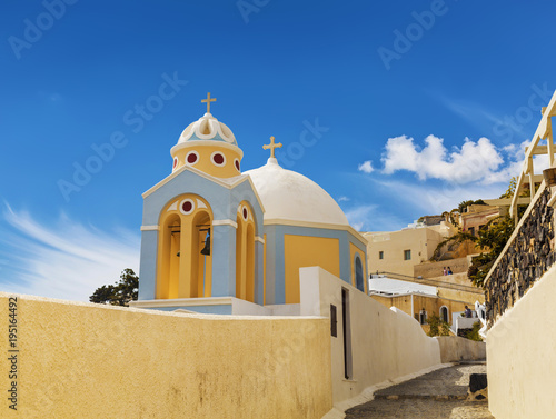 In de dag Santorini A Greek Orthodox Church in Fira on Santorini island in Greece