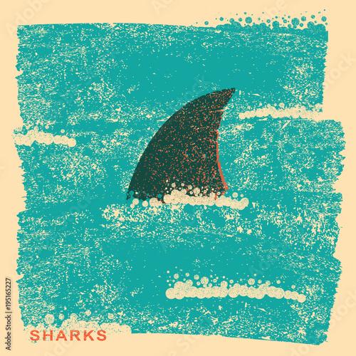Fototapeta Shark fin in ocean.Vintage poster on old paper texture
