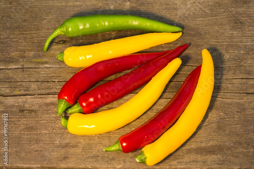 Deurstickers Hot chili peppers a colorful mix of the freshest and hottest chili peppers