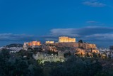 View of the Acropolis at dusk with lights on - 195173012