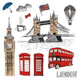 London Doodles. Vector hand drawn illustration with London symbols