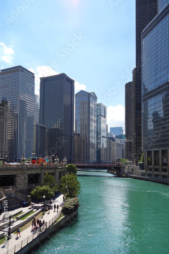 Foto op Plexiglas Chicago Chicago River skyline view