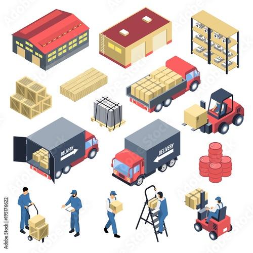 Ware House Isometric Icons Set