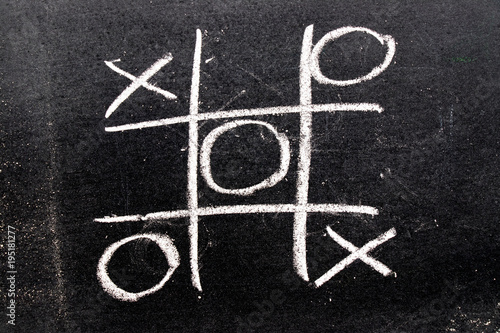 White color hand drawing as tic tac toe game shape on blackboard background