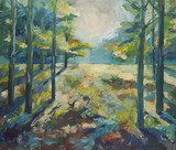 Painting beautiful summer forest. Sunlight in the forest Painting Acrylic and Full spectrum on Canvas and Cardboard