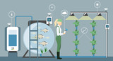 Growing plants in the greenhouse. Smart farm with wireless control. Eco farm with aquaponics system of planting vegetables. Vector illustration. - 195185008