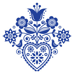 Scandinavian retro folk art floral, vector design in navy blue, Nordic pattern with birds and flowers
