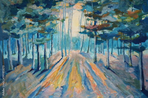 Plakat Painting beautiful winter forest. Sunlight in the forest Painting Acrylic and Full spectrum on Canvas and Cardboard