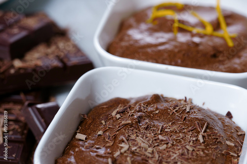 close up of dark chocolate mousse