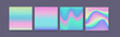 Hologram gradient set of four backgrounds with dark backdrop.