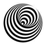 optical illusion black and white circles cone - 195191019