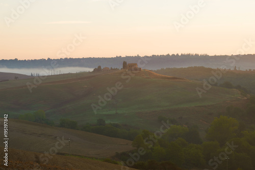 Fotobehang Toscane September morning in the hills of Tuscany. Italy