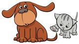 puppy and kitten characters cartoon illustration - 195198433