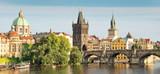 Panorama of Vltava river and Charles bridge, Prague, Czech republic