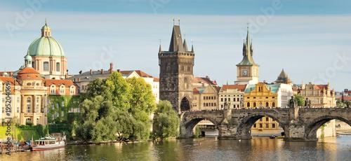 Tuinposter Praag Panorama of Vltava river and Charles bridge, Prague, Czech republic