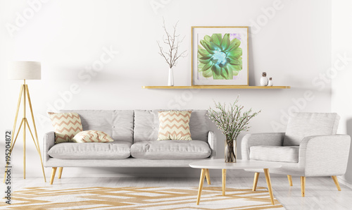 Interior of living room 3d rendering - 195204872