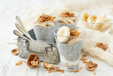 Chia pudding parfait with banana - 195208267