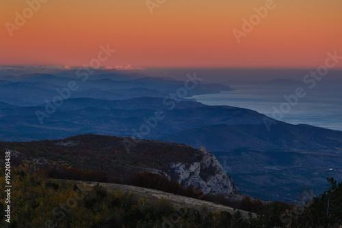 Fotobehang Nachtblauw Beautiful mountain landscape
