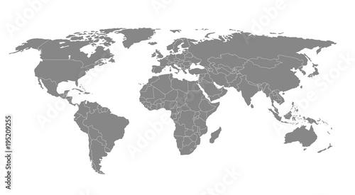 Detailed world map. Vector illustration