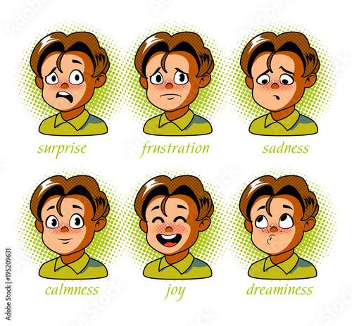Papiers peints Pop Art Boy. Kid avatar Character expressions set. Boy in different emotions
