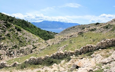 view while hiking near Baska, island Krk, Croatia