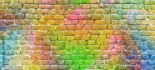 Foto op Canvas Graffiti painted brick wall, abstract background a diverse color