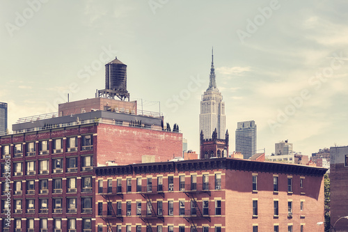 Retro toned picture of old Manhattan buildings, New York City, USA. - 195216053