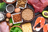 High protein food - fish, meat, poultry, nuts, eggs and vegetables. healthy eating and diet concept - 195217272