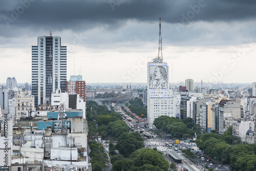 Foto op Canvas Buenos Aires aerial view on 9 de Julio Avenue in centre Buenos Aires