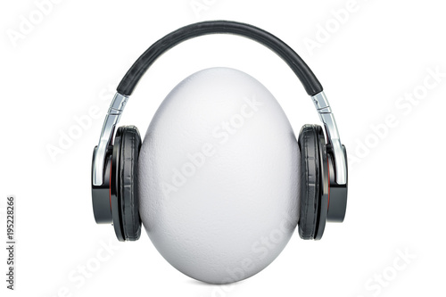 Fototapeta Egg with headphones, 3D rendering