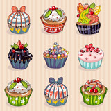 Set of 9 cute cupcakes, sweet dessert, confectionery bakery cafe sweet shop, vector children illustration
