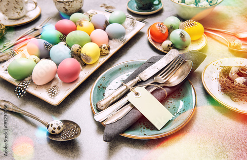 Easter decoration colorful eggs green plants vintage toned - 195230066