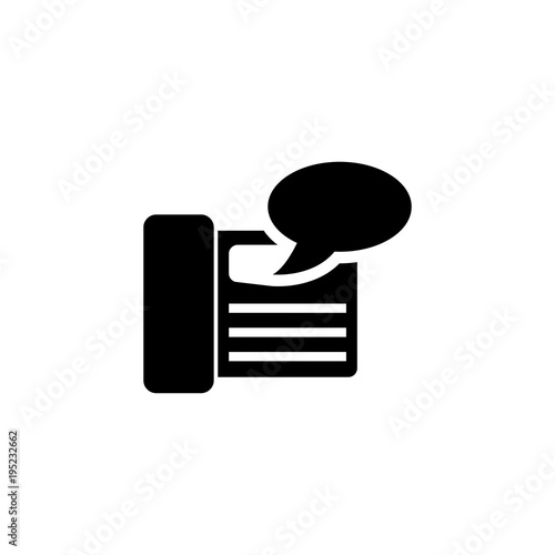 fax machine answering vector icon simple flat symbol on white