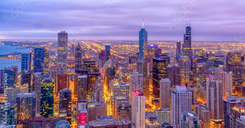 Poster Chicago Chicago Skyline at Sunrise
