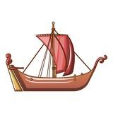 Pirate Ship Icon Cartoon Style Wall Sticker