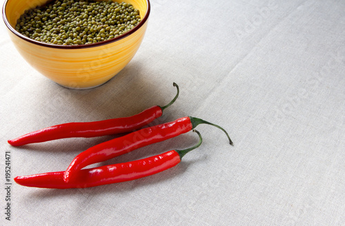 Fotobehang Hot chili peppers lentils vegetarian red hot chilli peppers food health Indian Oriental cuisin